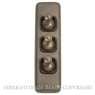 TRADCO 5896 SWITCH TOGGLE 3 GANG ANTIQUE BRASS-BROWN