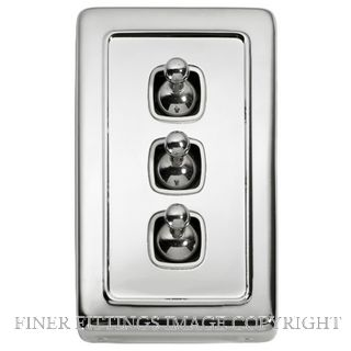 TRADCO 5944 SWITCH TOGGLE 3 GANG CHROME PLATE-WHITE