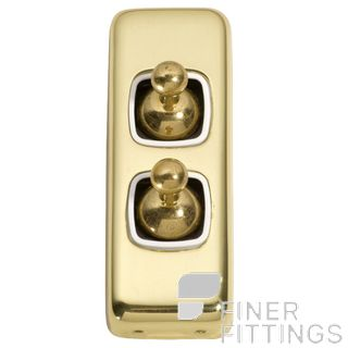 TRADCO 5951 SWITCH TOGGLE 2 GANG POLISHED BRASS-WHITE