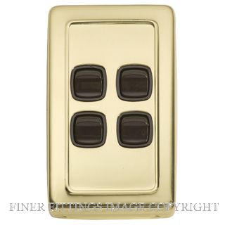 TRADCO 5805 SWITCH ROCKER 4 GANG POLISHED BRASS-BROWN