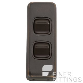 TRADCO 5811 SWITCH ROCKER 2 GANG ANTIQUE COPPER-BROWN
