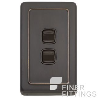 TRADCO 5813 SWITCH ROCKER 2 GANG ANTIQUE COPPER-BROWN