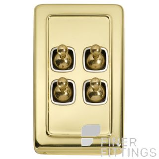 TRADCO 5955 SWITCH TOGGLE 4 GANG POLISHED BRASS-WHITE
