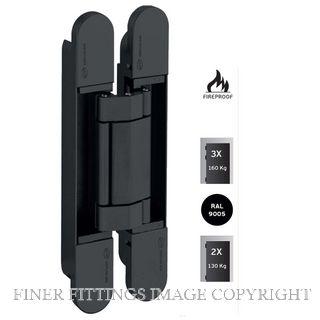 JNF JNIN05063B 3D AJUSTABLE INVISIBLE HINGE COPLAN IN.05.063 MATT BLACK
