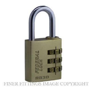 FEDERAL FDRB30 30MM BRASS COMBINATION PADLOCK
