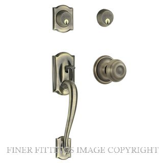 SCHLAGE SCSRL14223 F62V CAMELOT-GEORGIAN HANDLESET ANTIQUE BRASS