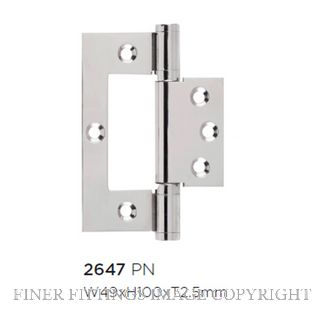 TRADCO HINGE - HIRLINE POLISHED NICKEL 100X49MM