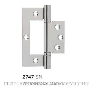 TRADCO HINGE - HIRLINE SATIN NICKEL 100X49MM
