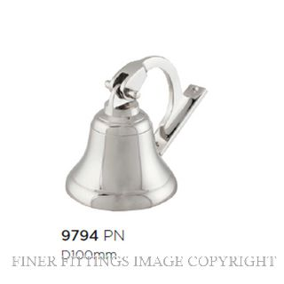 TRADCO 9794 SHIPS BELL POLISHED NICKEL 100MM