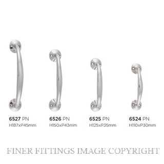 TRADCO 6524 - 6527 PULL HANDLE ON ROSE POLISHED NICKEL