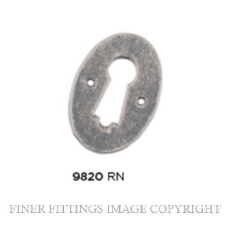 TRADCO 9820 PRESSED BRASS ESCUTCHEON RUMBLED NICKEL 44X30MM