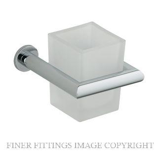 NIDUS 694 CHR ORBIT TUMBLER HOLDER W FROSTED GLASS CHROME PLATE