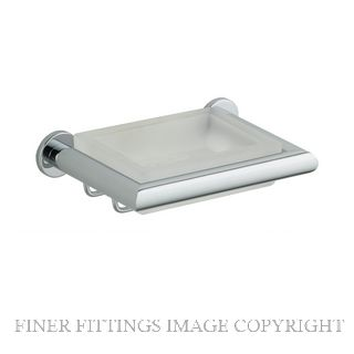 NIDUS 6950 CHR ORBIT SOAP DISH W FROSTED GLASS CHROME PLATE