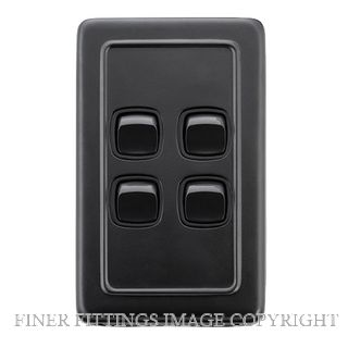 TRADCO 5345 SWITCH-CLIP ON-4 GANG MB BL 72X115 MATT BLACK