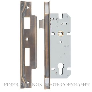 TRADCO 6036 - 6037 REBATED EURO CYLINDER LOCK ANTIQUE BRASS