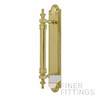 WINDSOR 5038 UB PULL HANDLE ON BACK PLATE UNLACQUERED BRASS
