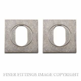 TRADCO 20107 SQUARE OVAL ESCUTCHEON 52MM RUMBLED NICKEL