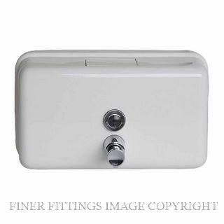 METLAM ML600W HORIZONTAL LIQUID SOAP DISPENSER WHITE POWDER COAT