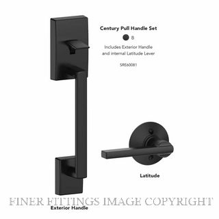 SCHLAGE SRE60081 CENTURY PULL HANDLE SET MATT BLACK