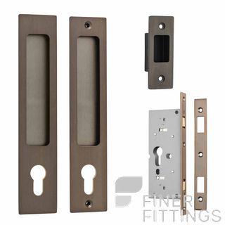 IVER 21411E RECTANGULAR SLIDING DOOR LOCK SET SIGNATURE BRASS