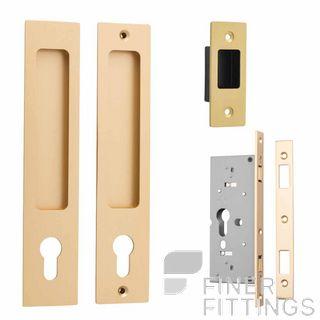 IVER 21416E RECTANGULAR SLIDING DOOR LOCK SET BRUSHED BRASS
