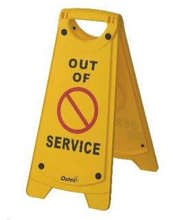 OATES NON-SLIP A-FRAME SIGN OUT OF SERVICE YELLOW