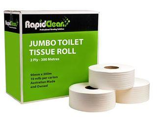 RAPID JUMBO TOILET TISSUE ROLL 2PLY 300M