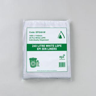 TAILORED PACKAGING BIN LINER LDPE  EPI WHITE 240LT