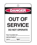 OUT OF SERVICE TAGS PAPER BUNDLE EACH