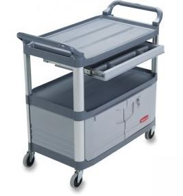 INSTRUMENT CART WITH LOCKABLE DOORS AND SLIDING DRAWER