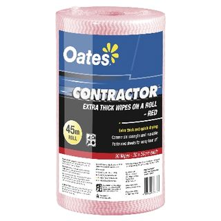 OATES CONTRACTOR EXTRA THICK WIPES ON A ROLL 90S RED