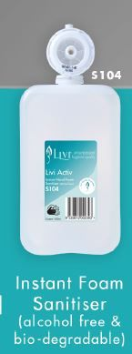 LIVI ACTIV INSTANT HAND SANITISER (ALCOHOL FREE) 1L 6 PODS P/CTN