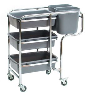 SABCO COLLECTOR CART (3 SHELF WITH BINS)