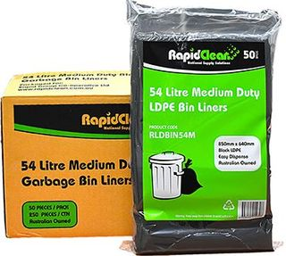RAPID BIN LINER BLACK MEDIUM DUTY LD 54LT