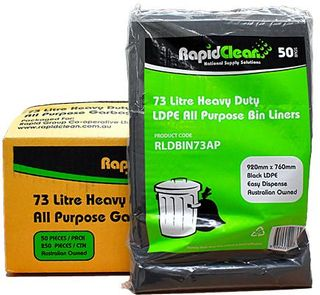 RAPID BIN LINER ALL PURPOSE BLACK  73LT