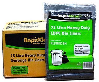 RAPID BIN LINER BLACK HEAVY DUTY 73LT