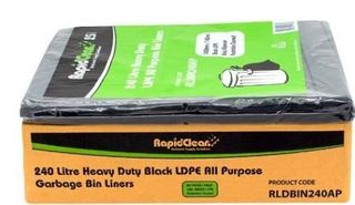 RAPID BIN LINER BLACK HEAVY DUTY 1450x1140mm LDPE 240LT