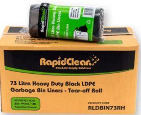 RAPID BIN LINER BLACK HEAVY DUTY ROLL 73LT