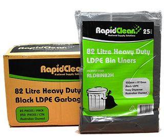 RAPID GARBAGE BIN LINER HEAVY DUTY BLACK 82LT