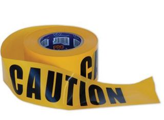 CAUTION  ON YELLOW HAZARD TAPE