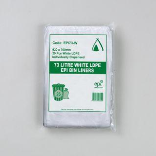 TAILORED PACKAGING BIN LINER WHITE LDPE 73LT+ EPI 1C 1S