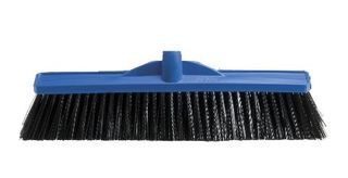 OATES INDUSTRIAL EXTRA STIFF POLY BROOM HEAD BLUE  450mm
