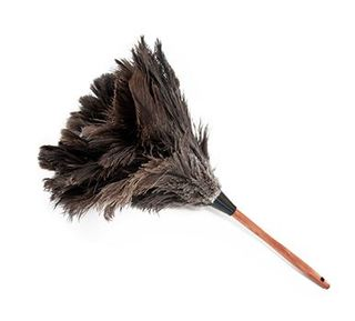 WOOD SHAPED STAINED HANDLE FIRST GRADE GREY FEATHER DUSTER-550 MM LEMNGTH