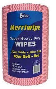 EDCO MERRIWIPE SUPER HEAVY DUTY WIPES RED ROLLS