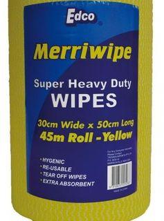 EDCO MERRIWIPE SUPER HEAVY DUTY WIPES YELLOW ROLL