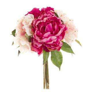 Peony & Rose Bouquet 30cm Burgundy & Pink