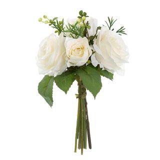 Rose Berries & Rosemary Bouquet 27cm White