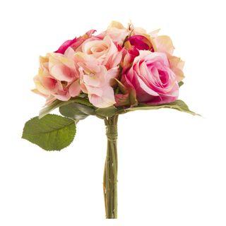 Rose & Hydrangea Mix Bouquet 27cm Dark Pink