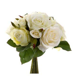 Rose Mix Bouquet 23cm Cream & White