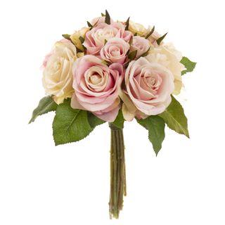 Rose Bouquet Fresh 28cm Pink & Cream